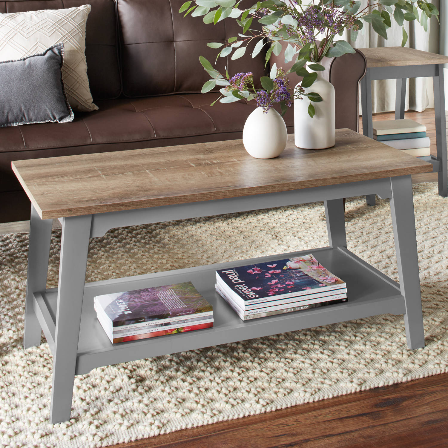 better homes and gardens bedford coffee table, gray - walmart