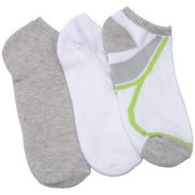 Everlast Girls White Grey Lime Stripe 3 Pair Pack Low Cut Ankle Socks 9-11