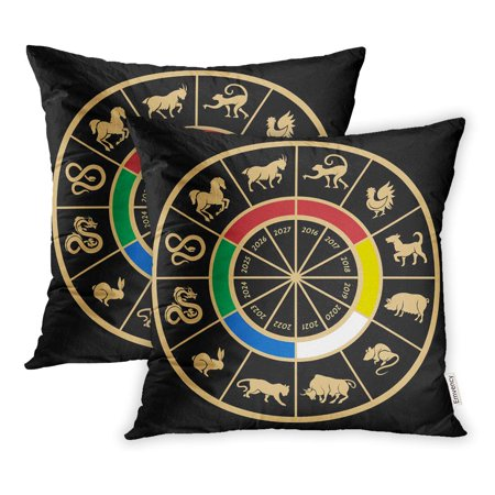 ECCOT Years Zodiac Calendar Sign Rat Snake Dragon Pig Rooster Rabbit Horse Pillowcase Pillow Cover 20x20 inch Set of 2