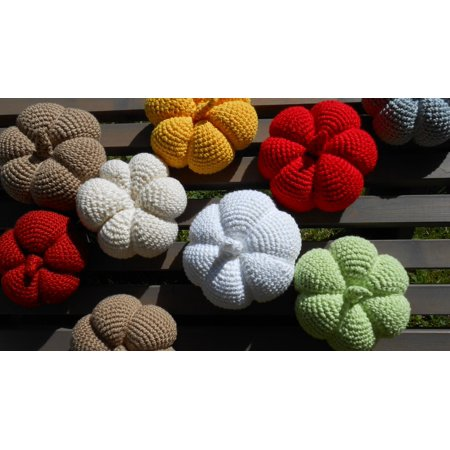 - Canvas Print Pumpkin Colorful Hand Labor Crochet Wool Deco Stretched Canvas 10 x 14