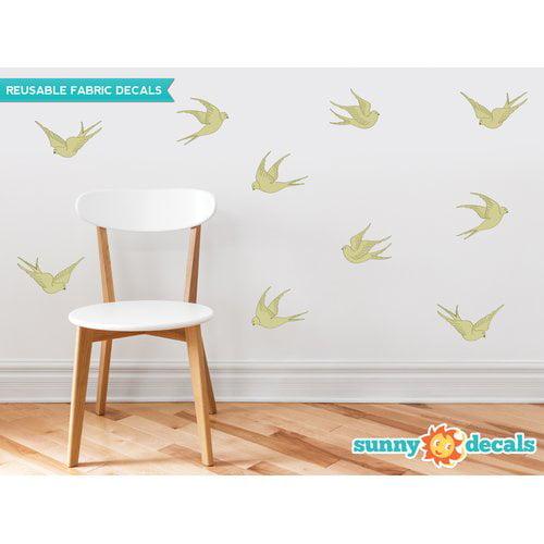Sunny Decals 10 Piece Modern Birds Wall Decal Set