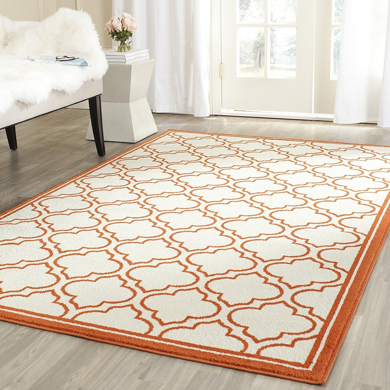 Safavieh Amherst Collection Amt412f Ivory And Orange Indoor Outdoor
