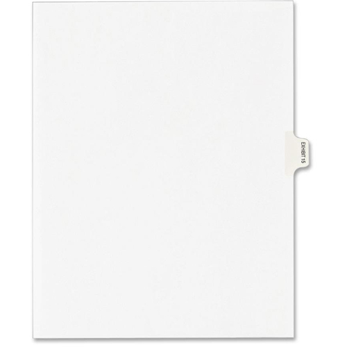 """Dividers, """"Exhibit 15"""", Side Tab, 8-1/2""""x11"""", 25/PK, White AVE82335"""