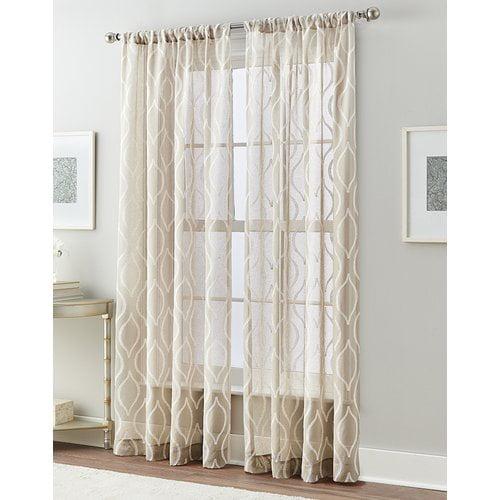 Charlton Home Rossburg Ogee Geometric Sheer Rod Pocket Single Curtain Panel