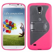 Samsung i9500 Galaxy S4 MyBat Transparent S Shape with Stand Gummy Cover, Clear/Solid Hot Pink
