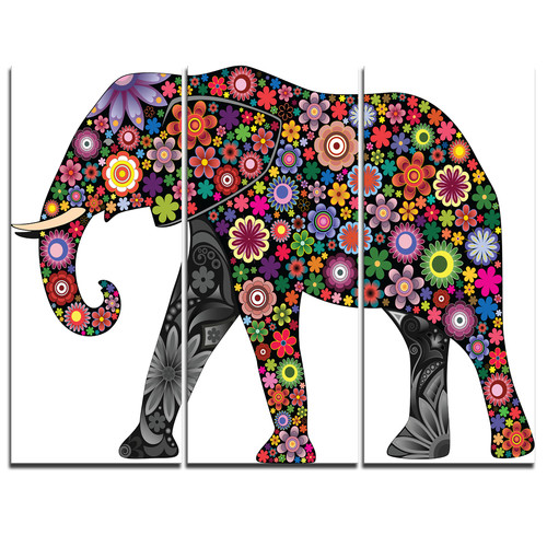 Design Art Cheerful Elephant - 3 Piece Graphic Art on Wrapped Canvas Set
