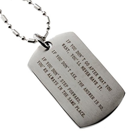 - R.H. Jewelry Stainless Steel Inspirational Quotes Dog Tag Pendant for Men and Women
