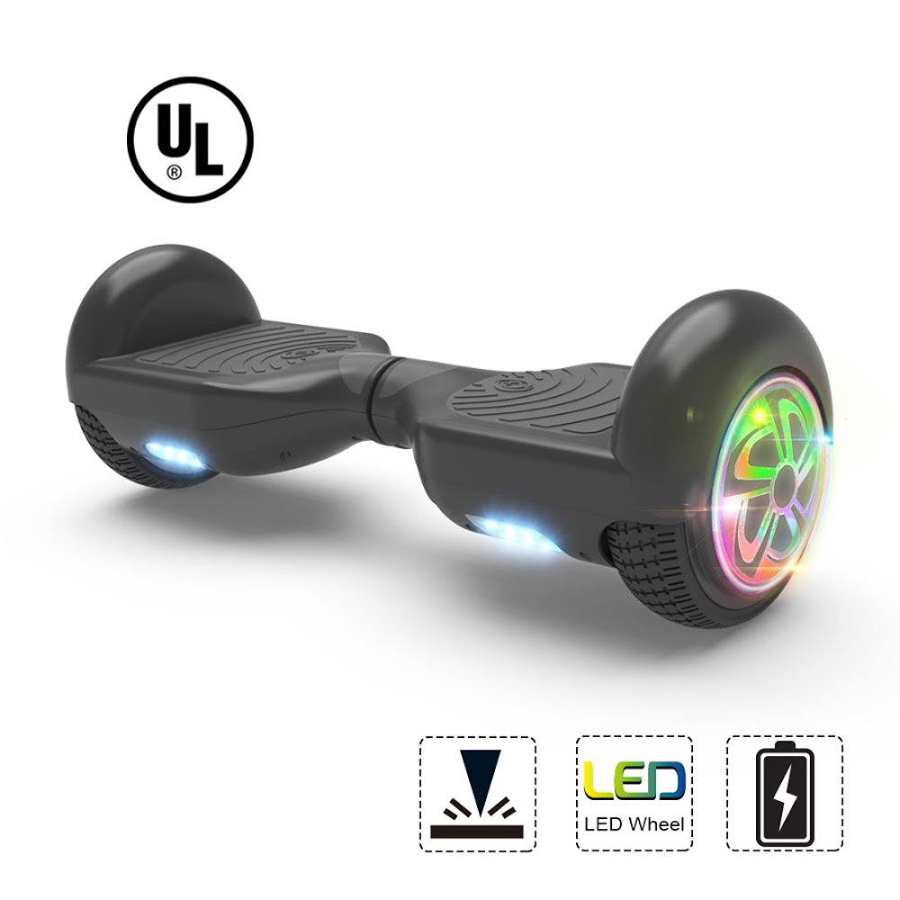 """Hoverboard Two-Wheel Self Balancing Electric Scooter 6.5"""" UL 2272 Certified Flash LED Wheel (Black)"""