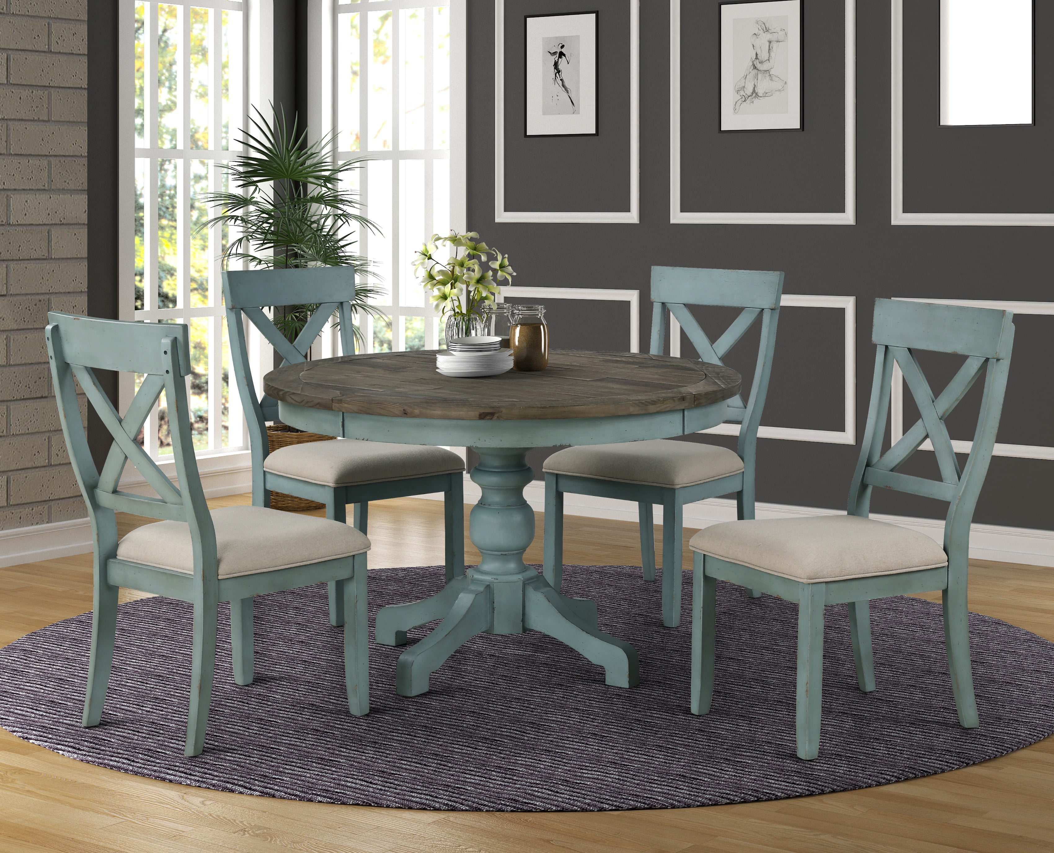 The Gray Barn Spring Mount 5 Piece Round Dining Table Set With Cross Back Chairs Walmart Com Walmart Com