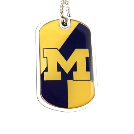 NCAA Michigan Wolverines Sports Team Logo Domed Dog Tag Necklace