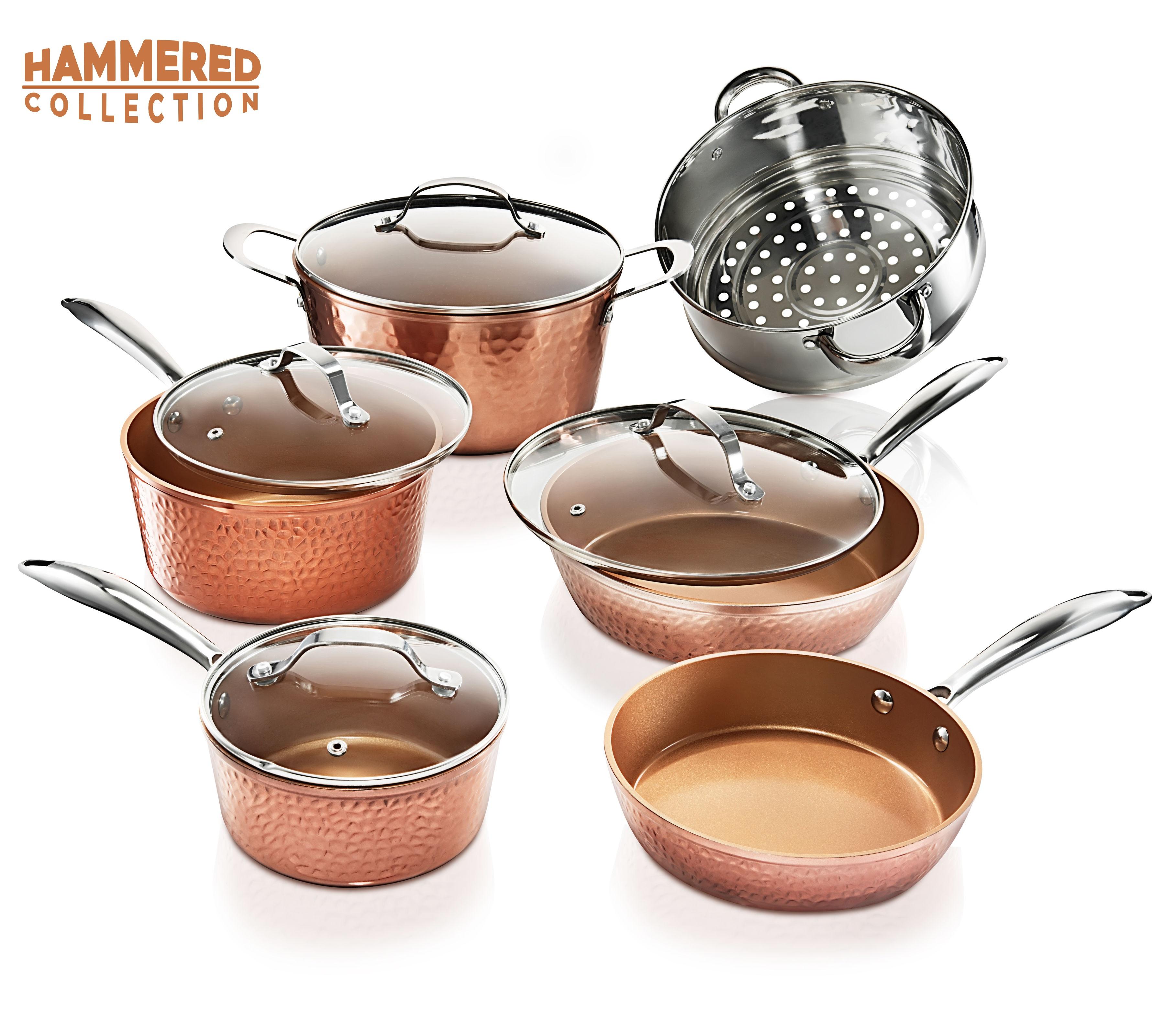 Gotham Steel Nonstick 10 Piece Hammered Cookware Set, Oven Safe, Dishwasher Safe - Elegant Pots & Pans Set
