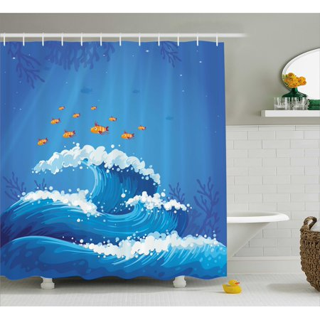 Marine Shower Curtain  Underwater With Group Of Fish And Wave In The Ocean Coral Reef Illustration  Fabric Bathroom Set With Hooks  69W X 70L Inches  Violet Blue Orange  By Ambesonne