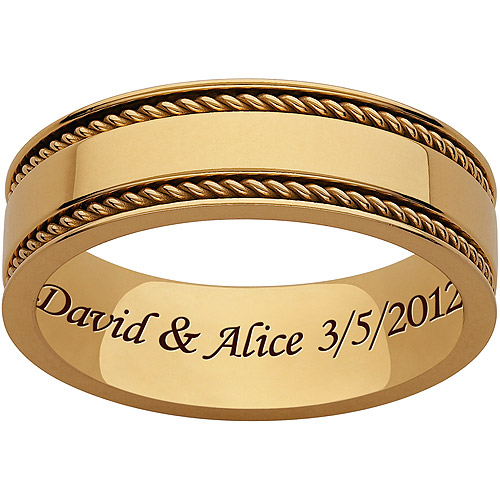 Personalized Men's Gold Titanium Braided Polished Engraved Band