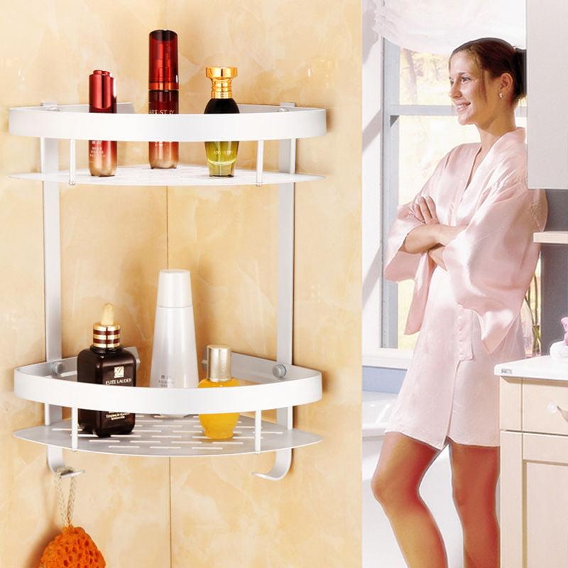Triangular Shower Caddy Shelf Bathroom Corner Bath Rack Storage Holder Organizer by