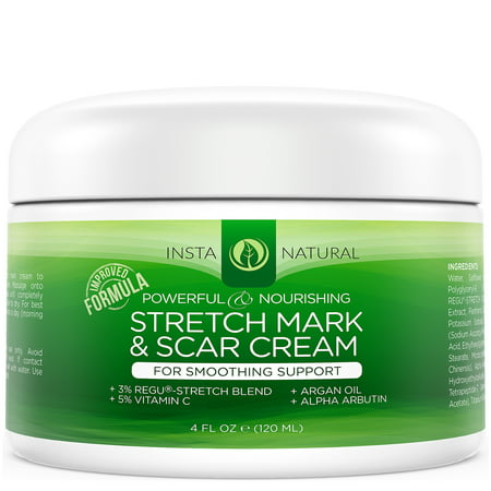 InstaNatural Stretch Mark & Scar Cream - Formula for Scar Removal & Prevention for Men & Women - Natural & Organic Moisturizing Body Cream Treatment - Great for Before & After Pregnancy - 4