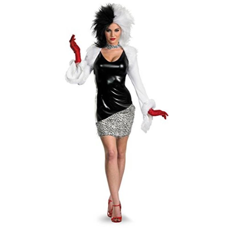 Disguise Women's Disney 101 Dalmatians Sassy Cruella Costume, Black White, Medium by