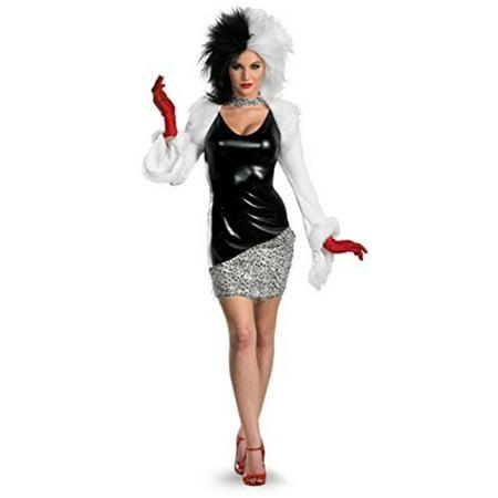 Disguise Women's Disney 101 Dalmatians Sassy Cruella Costume, Black/White, Medium