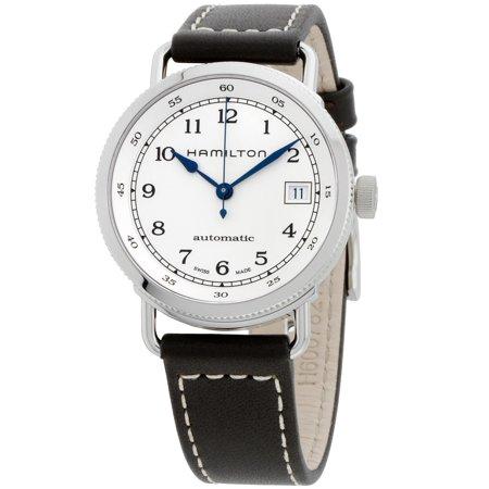 Hamilton Khaki Silver Dial Leather Strap Automatic Ladies Watch H78215553 (Lady Hamilton Watch)