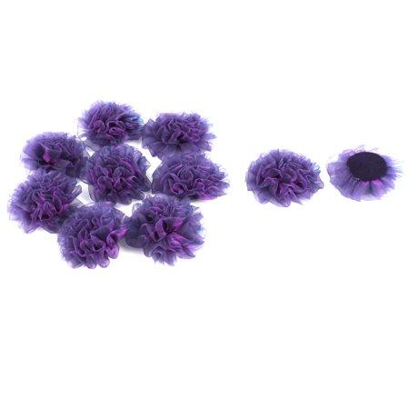 Dark Purple Wedding (Organza Rose Handmade Wedding Ornament Ribbon Flower Dark Purple 90 x 90mm)