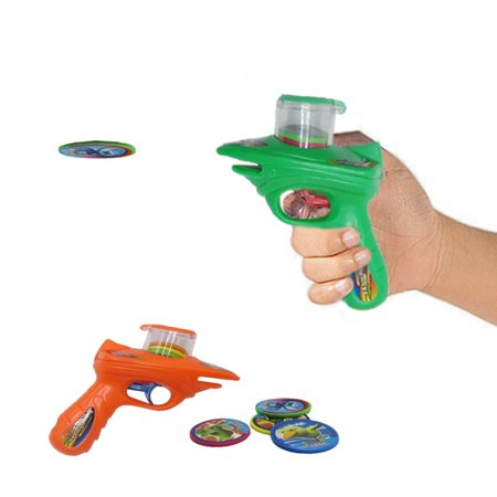 Dazzling Toys Kids 2 Foam Disc Shooters with 8 Foam Discs Each Shooter, Shoots Discs up to 20 Feet. No Batteries Required. - Foam Disc Shooter