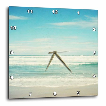 10 Inch Square Wave - 3dRose Gentle Ocean Waves beach theme art, Wall Clock, 10 by 10-inch