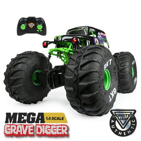 Monster Jam, Official MEGA Grave Digger All-Terrain Remote Control Monster Truck with Lights, 1:6 (Best Rc Monster Truck For Kids)