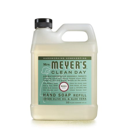 ((2 Pack) Mrs. Meyer Liquid Hand Soap Refill, Basil, 33 fl oz)