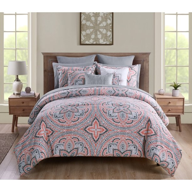 VCNY Home Janerisa Medallion Bed-in-a-Bag Comforter Set, Queen, Coral