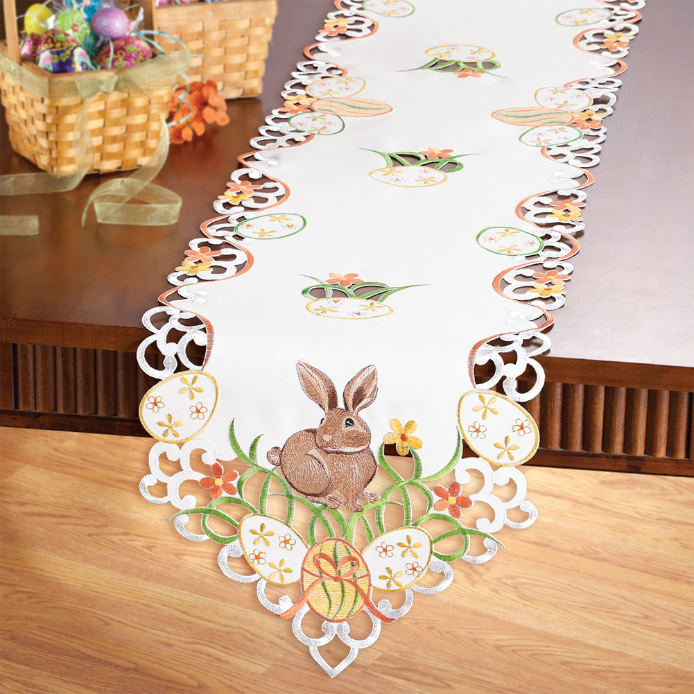 Easter Bunny And Eggs Table Linens, Runner, Multi by Collections Etc
