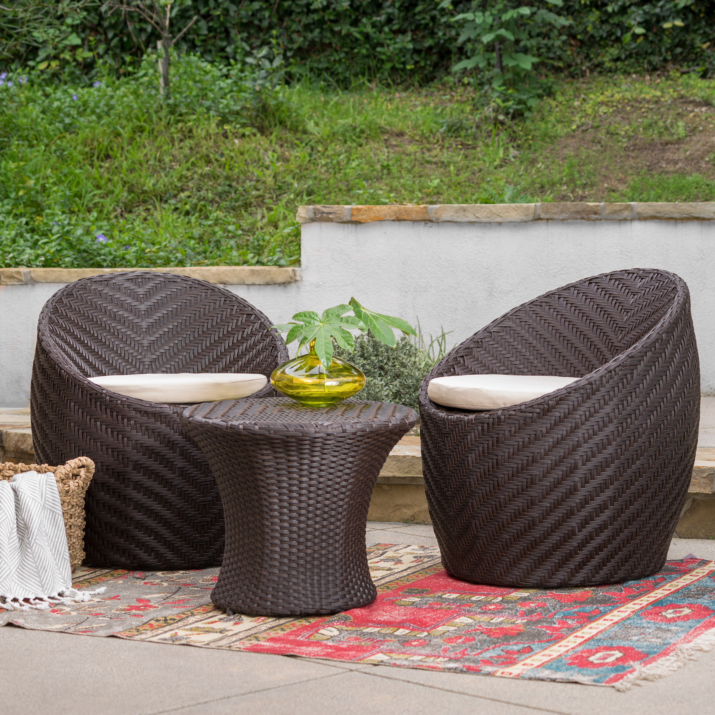 Whitney 3 Piece Outdoor Wicker Bistro Set