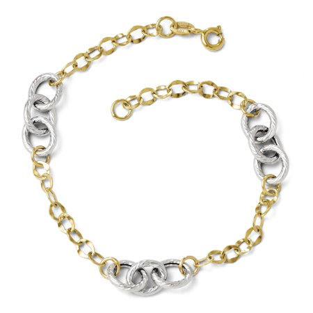 14k Two Tone Yellow Gold Textured Link Bracelet 7.5 Inch H Fine Jewelry For Women Gifts For Her - image 1 of 6