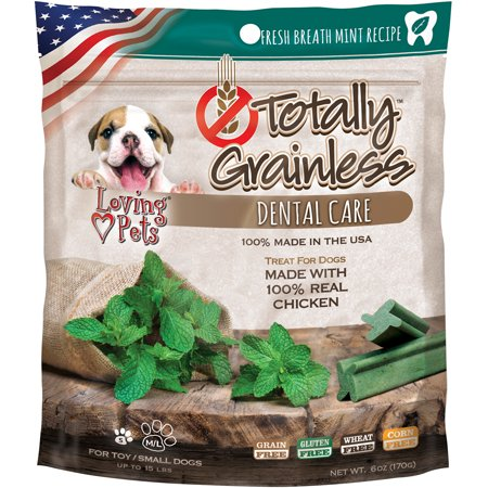 Loving Pets Totally Grainless Dental Care Chews - Fresh Breath Mint Toy/Small Dogs - 6 oz - (Dogs up to 15 (Bone Cool Mint)