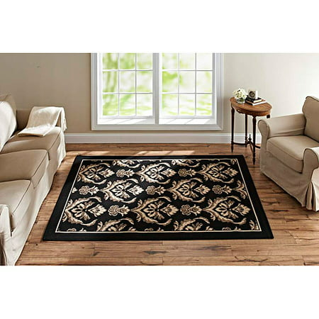 and gardens damask woven rug black brown and beige