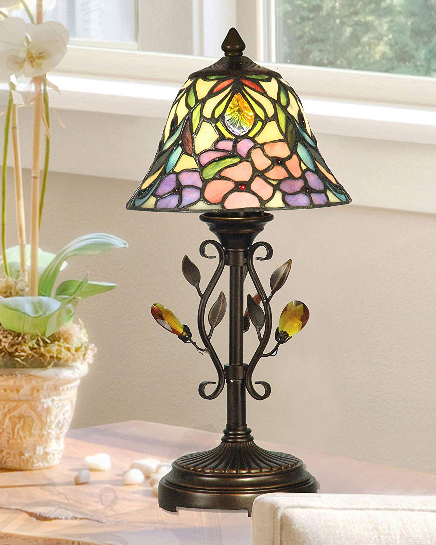 Crystal Peony Tiffany Accent Table Lamp Walmart Com Walmart Com