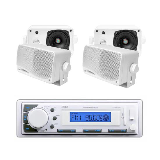 """Pyle In-Dash Marine AM/FM USB/SD Stereo Player Receiver Aux-In for iPod/MP3 + 4 x 3.5"""" 200W Speakers"""
