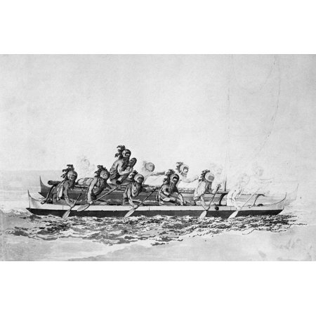 Islands The Rowers Masked Native Hawaiians In A Double Hulled Canoe Likely Delivering Gifts To Captain James Cook Pencil Pen And Wash Drawing By