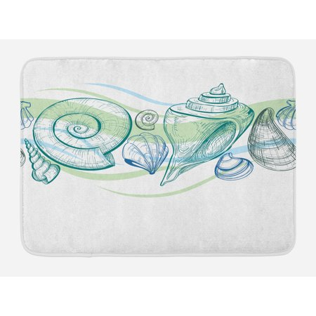 Other Pastels (Seashells Bath Mat, Pastel Color Graphics of Seashells with Sketchy Features and Other Sea Elements, Non-Slip Plush Mat Bathroom Kitchen Laundry Room Decor, 29.5 X 17.5 Inches, White Green, Ambesonne )