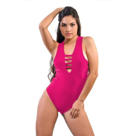 Perohl Women's Bodysuit Swimsuit Deep V Neck Strappy Cross Back One Piece One Size (S-L) Fuchsia