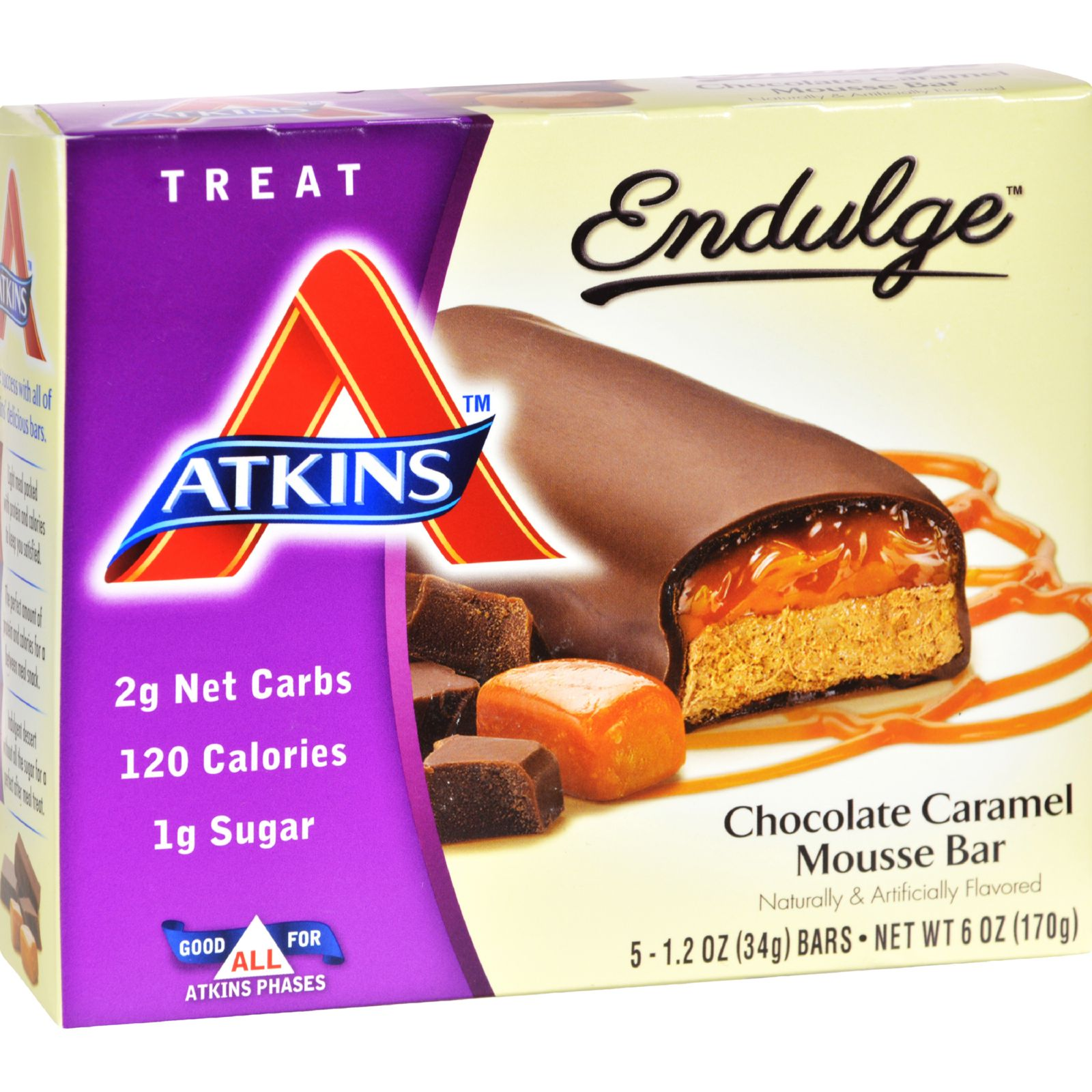 Atkins Endulge Chocolate Caramel Mousse Bar, 1.2oz, 5-pack (Treat)