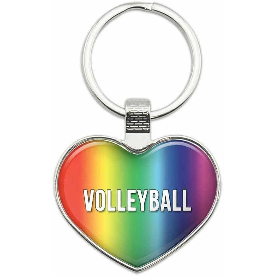 Volleyball - I Love Sports Hobbies Metal Heart Keychain Key Chain Ring, Rainbow