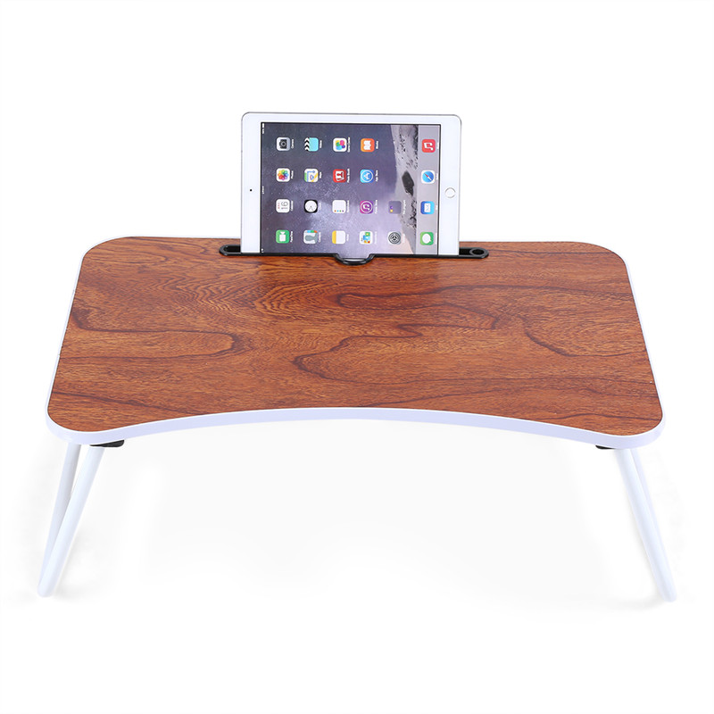 Multi-purpose Folding Laptop Table Adjustable Portable Standing Bed Desk Sofa Breakfast Tray Notebook Stand Reading Holder for Couch Floor Wood color