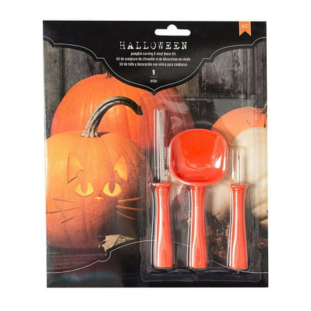 American Crafts 376608 Icons Halloween Pumpkin Carving Kit Icons 9Piece