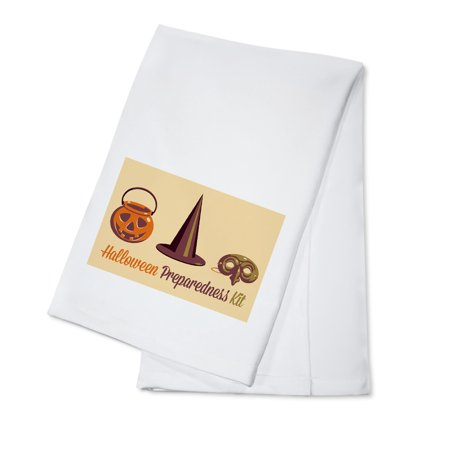 Halloween Preparedness Kit - Gear Up - Retro Halloween - Lantern Press Artwork (100% Cotton Kitchen Towel)](Halloween Main Dishes For Parties)
