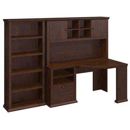 American Cherry Bookcase Desk (Bush Furniture Yorktown Corner Desk with Hutch and Bookcase in)