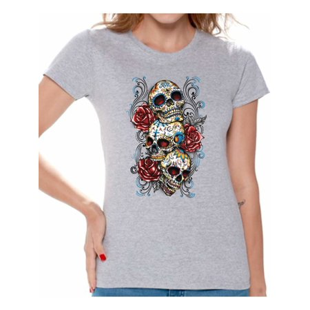Awkward Styles Three Sugar Skulls Rosess T-shirt Top skull shirts womens day of the dead costume t shirt dia de Los Muertos costume t shirt sugar skull candy skull costume tshirt skull for women