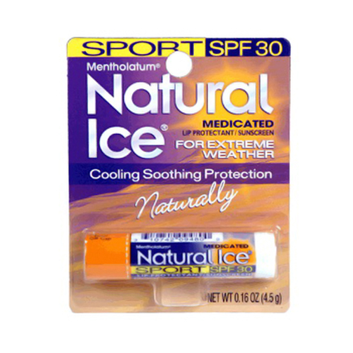 Mentholatum Natural Ice Sport Medicated Lip Protectant With Spf 30 Sunscreen, 0.16 Oz / Pack, 12 Ea, 3 Pack