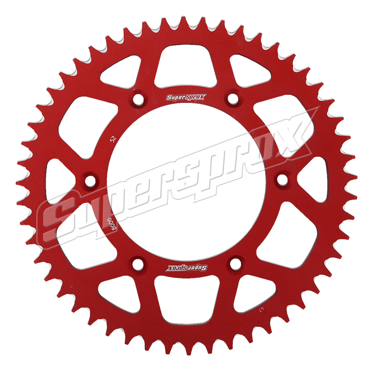 New Supersprox Red Aluminum Sprocket, 52T, Chain Size 520, Ral-8000-52-Red