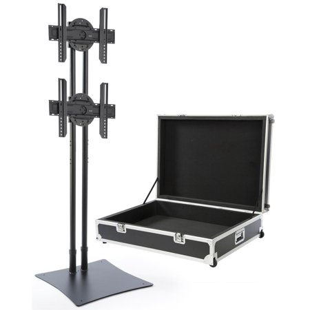 Displays2go CDSTAND2BK Portable Dual TV Stand, Stationary, 32-70