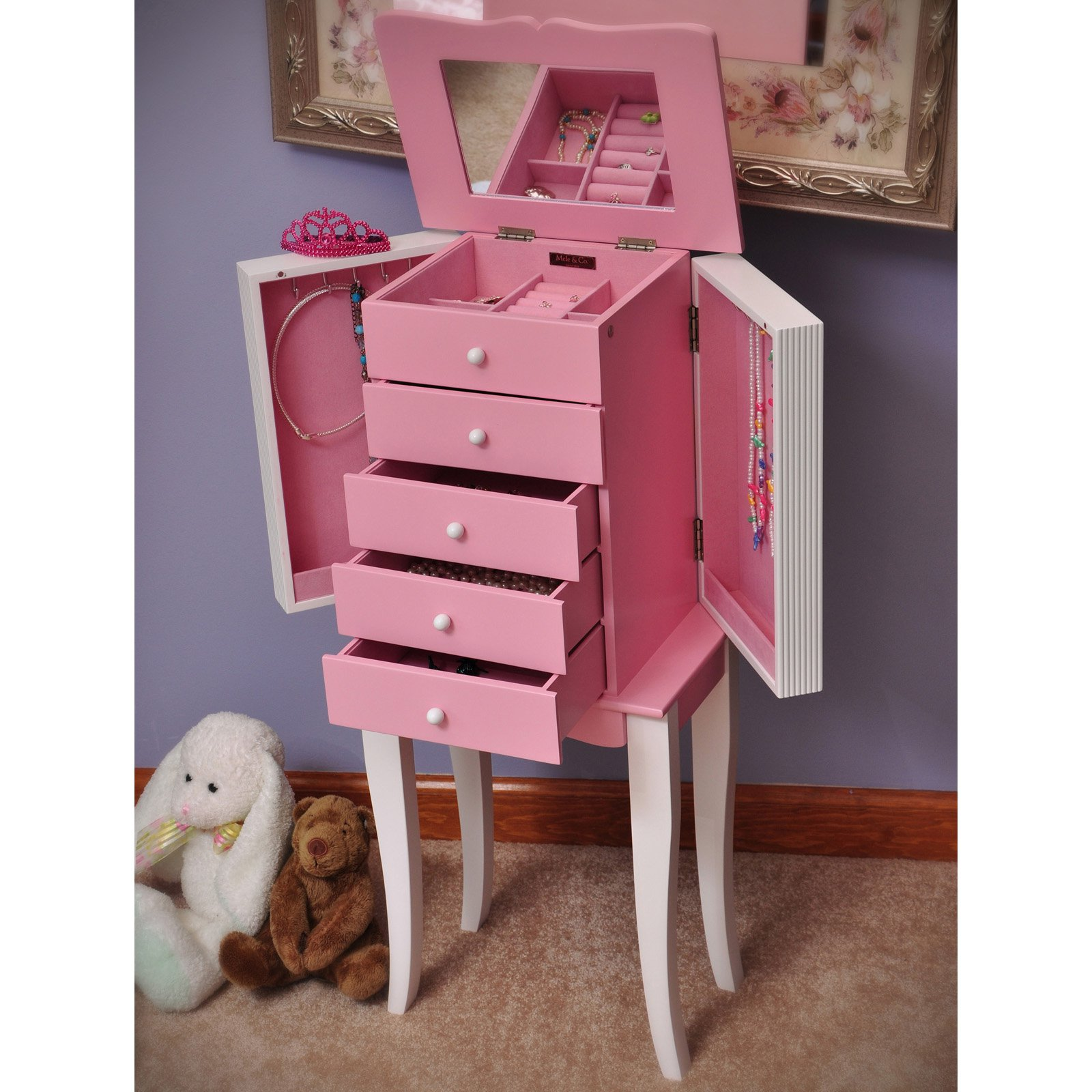 Mele Designs Louisa Girls Pink and White Wooden Jewelry Armoire