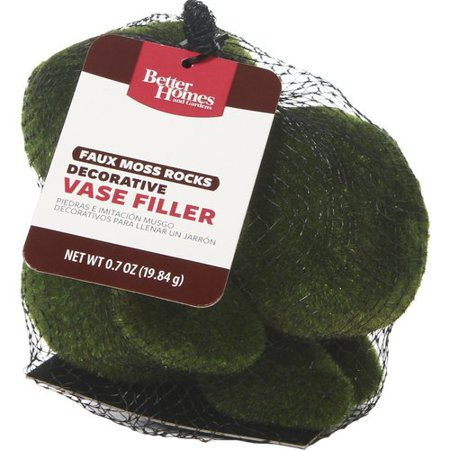 Better Homes and Gardens Faux Moss Rock Vase Fillers, Green